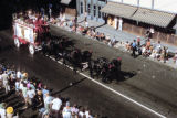 Horses Pulling Tableau Wagon in Parade